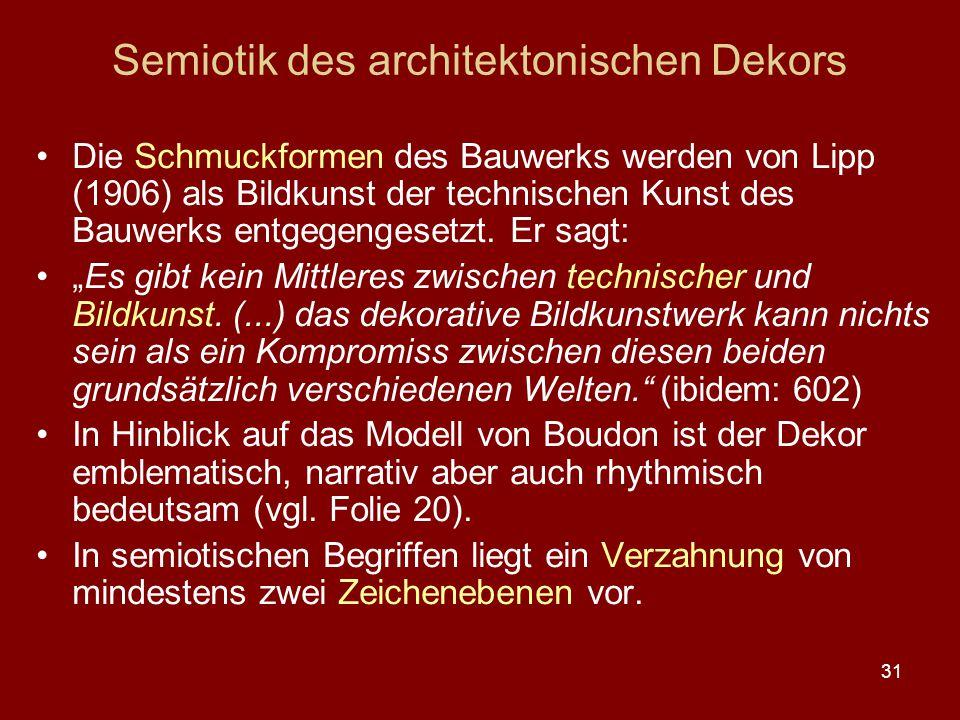 31 Semiotik des architektonischen Dekors Die Schmuckformen des Bauwerks werden von Lipp (1906) als Bildkunst der technischen Kunst des Bauwerks entgeg