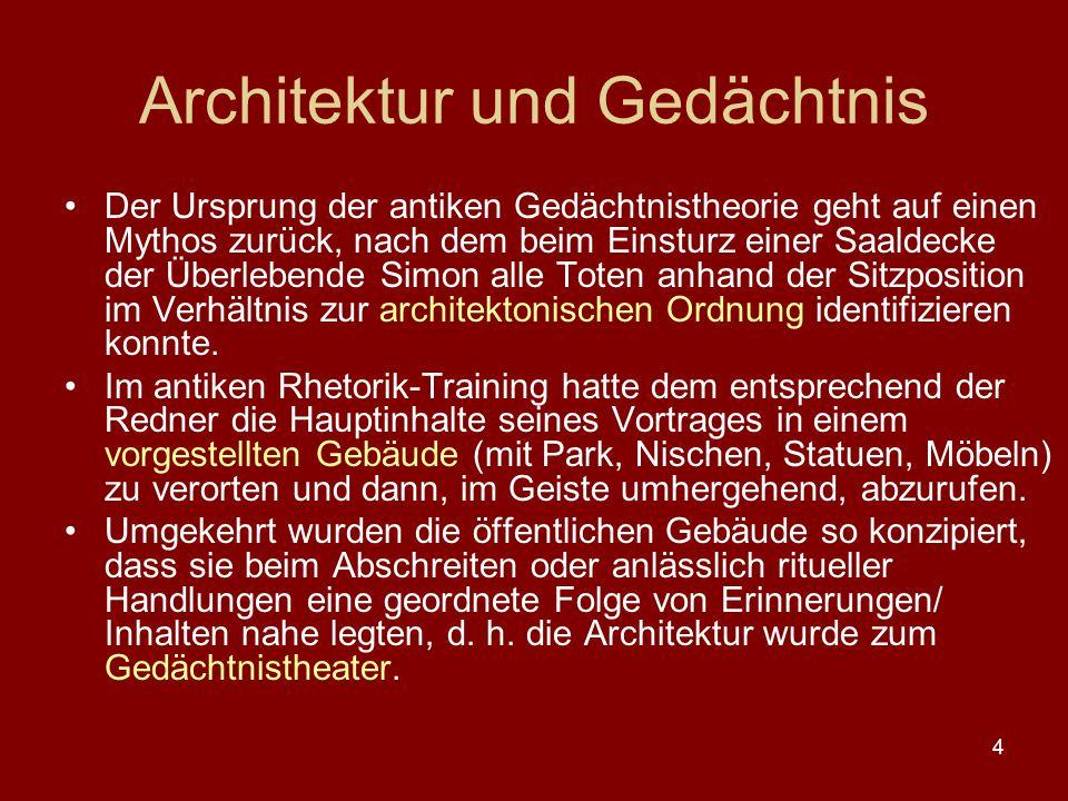 4 Architektur und Gedächtnis Der Ursprung der antiken Gedächtnistheorie geht auf einen Mythos zurück, nach dem beim Einsturz einer Saaldecke der Überl