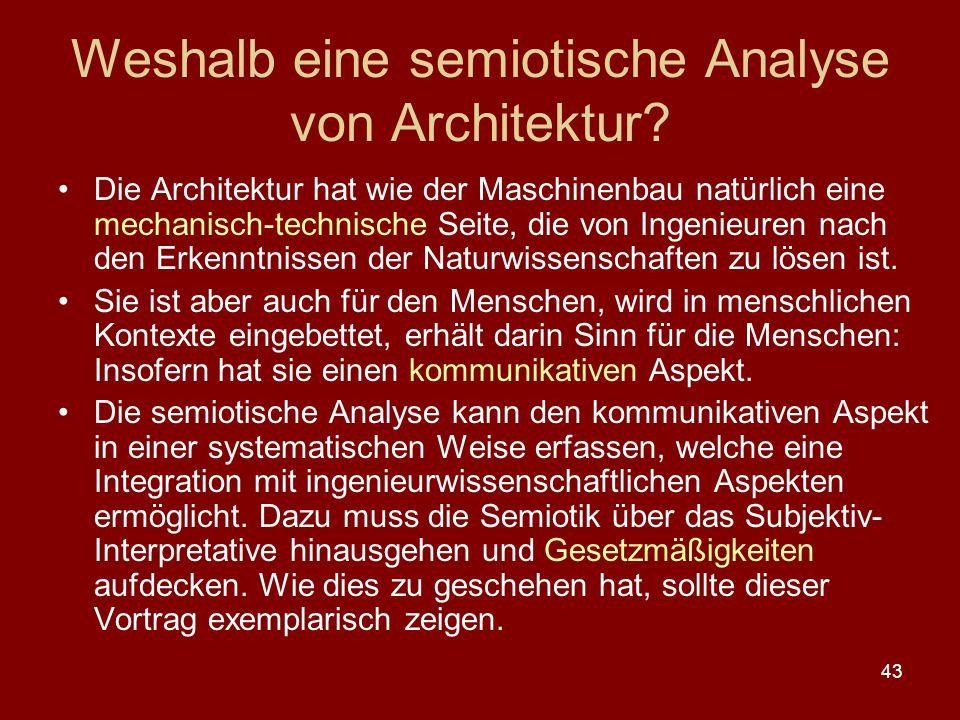 43 Weshalb eine semiotische Analyse von Architektur? Die Architektur hat wie der Maschinenbau natürlich eine mechanisch-technische Seite, die von Inge
