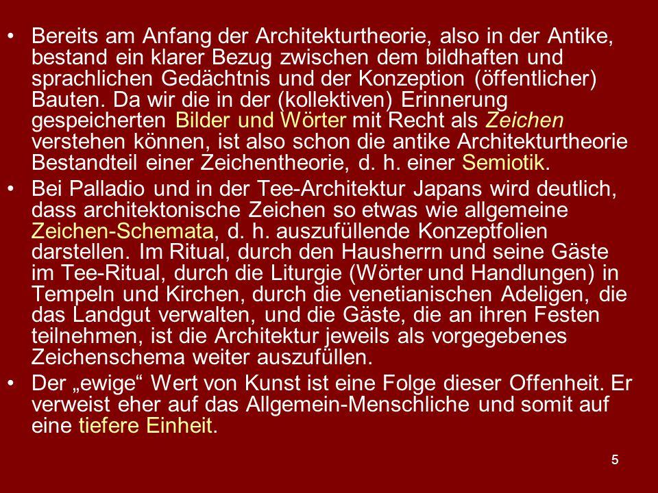 5 Bereits am Anfang der Architekturtheorie, also in der Antike, bestand ein klarer Bezug zwischen dem bildhaften und sprachlichen Gedächtnis und der K