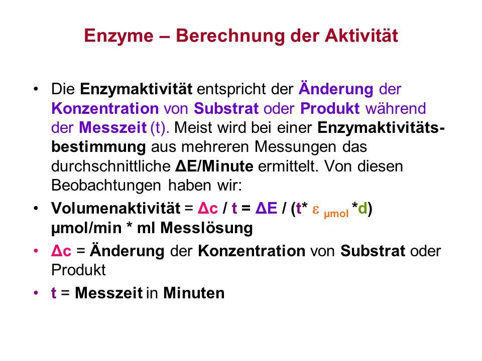 Enzyme – Berechnung der Aktivität Die Enzymaktivität entspricht der Änderung der Konzentration von Substrat oder Produkt während der Messzeit (t). Mei