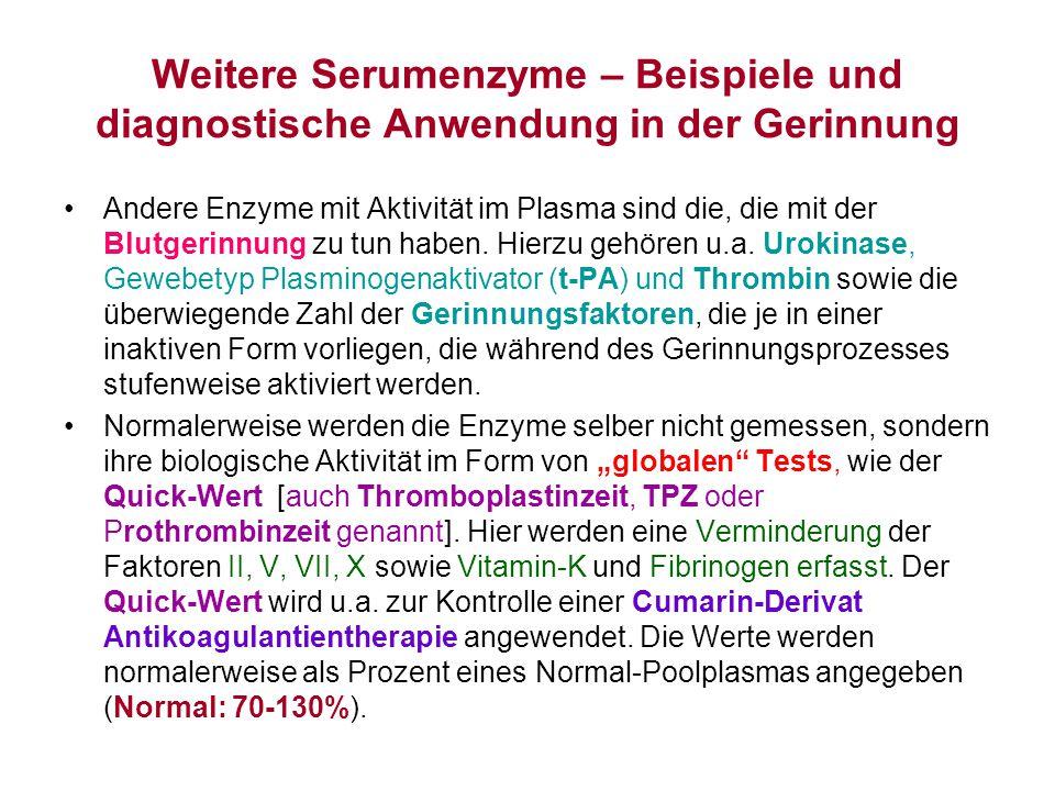 Weitere Serumenzyme – Beispiele und diagnostische Anwendung in der Gerinnung Andere Enzyme mit Aktivität im Plasma sind die, die mit der Blutgerinnung
