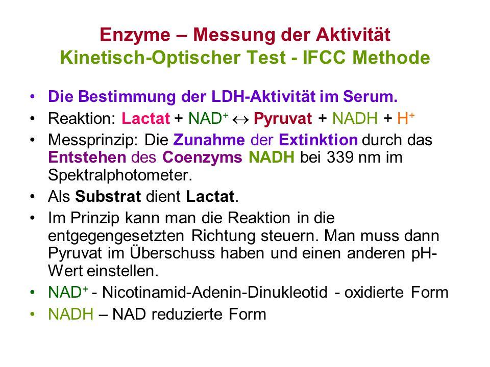 Enzyme – Messung der Aktivität Kinetisch-Optischer Test - IFCC Methode Die Bestimmung der LDH-Aktivität im Serum. Reaktion: Lactat + NAD +  Pyruvat +
