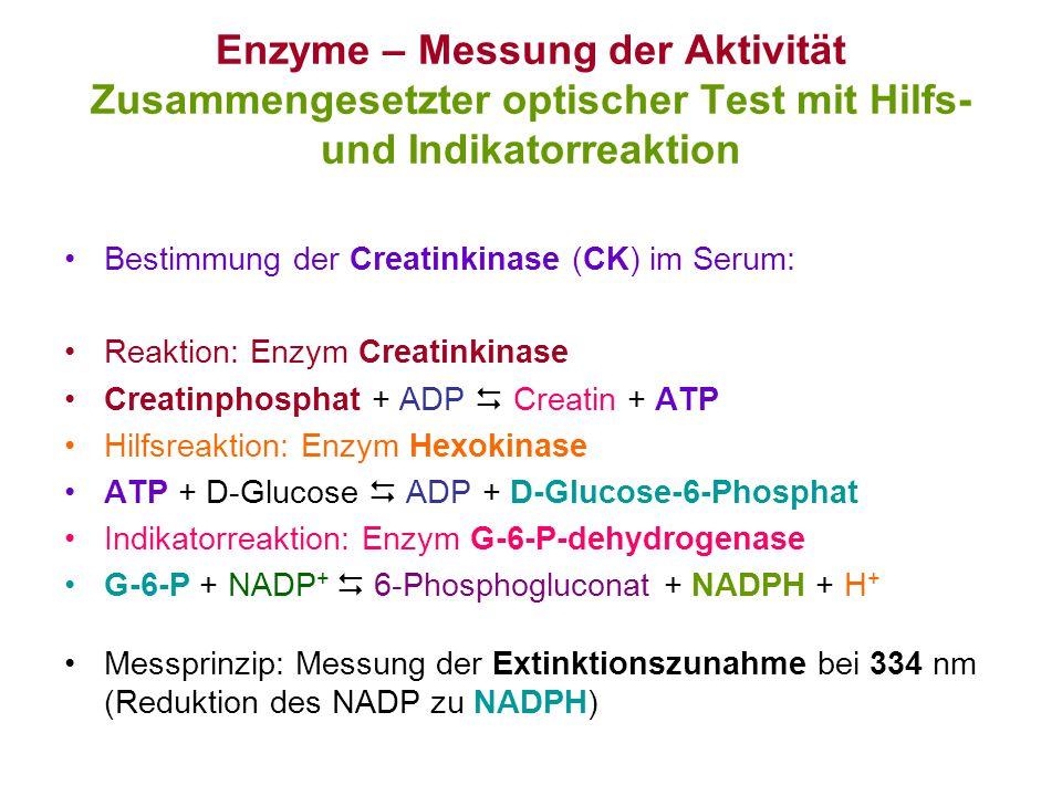 Enzyme – Messung der Aktivität Zusammengesetzter optischer Test mit Hilfs- und Indikatorreaktion Bestimmung der Creatinkinase (CK) im Serum: Reaktion: