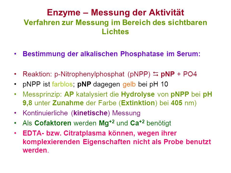 Enzyme – Messung der Aktivität Verfahren zur Messung im Bereich des sichtbaren Lichtes Bestimmung der alkalischen Phosphatase im Serum: Reaktion: p-Ni