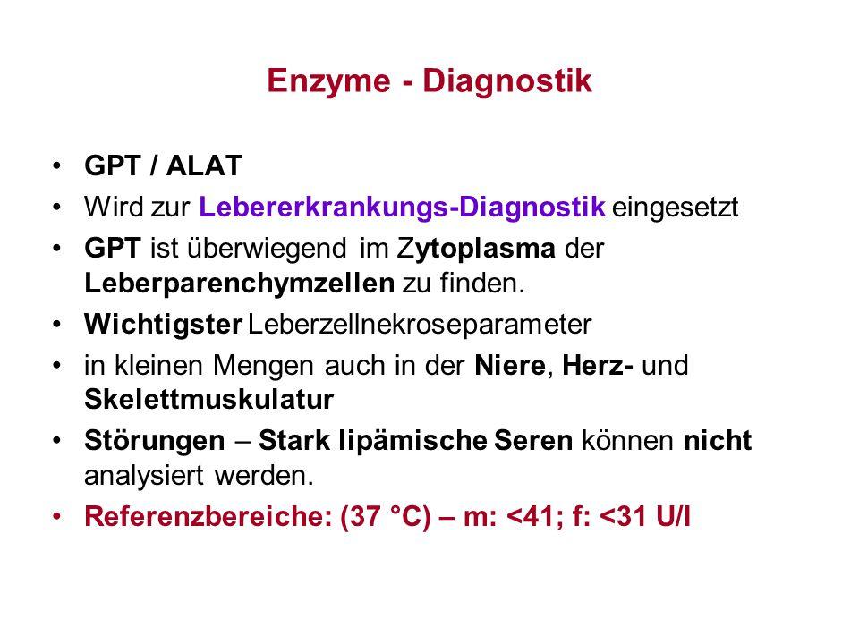 Enzyme - Diagnostik GPT / ALAT Wird zur Lebererkrankungs-Diagnostik eingesetzt GPT ist überwiegend im Zytoplasma der Leberparenchymzellen zu finden. W