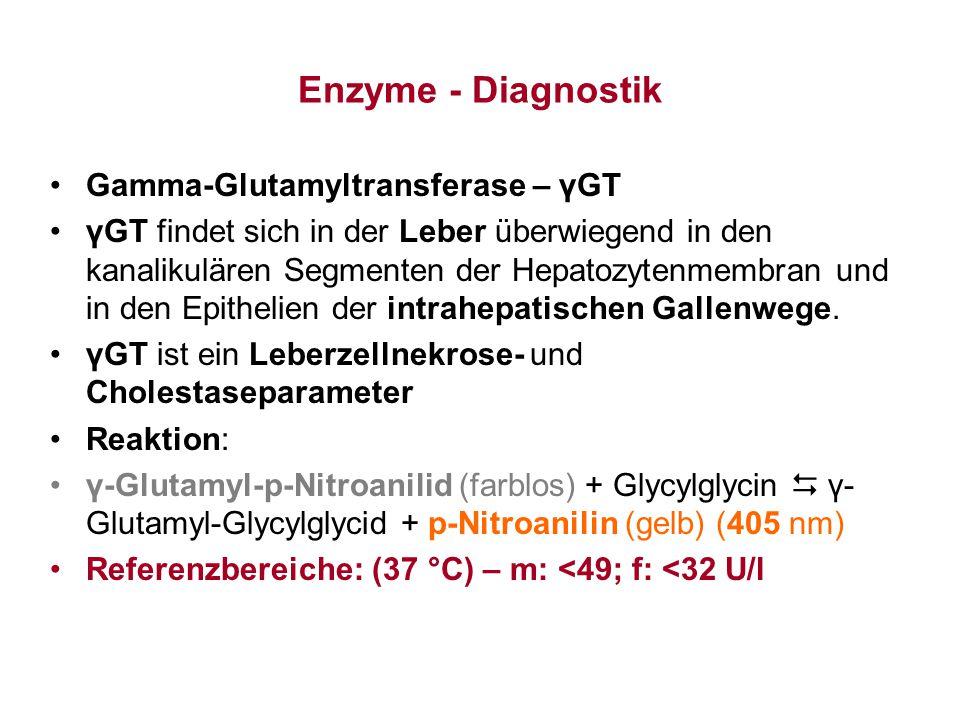 Enzyme - Diagnostik Gamma-Glutamyltransferase – γGT γGT findet sich in der Leber überwiegend in den kanalikulären Segmenten der Hepatozytenmembran und