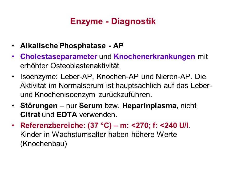 Enzyme - Diagnostik Alkalische Phosphatase - AP Cholestaseparameter und Knochenerkrankungen mit erhöhter Osteoblastenaktivität Isoenzyme: Leber-AP, Kn