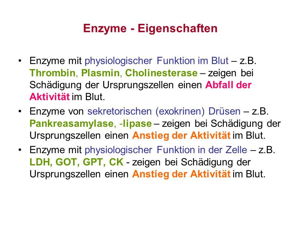 Enzyme - Eigenschaften Enzyme mit physiologischer Funktion im Blut – z.B. Thrombin, Plasmin, Cholinesterase – zeigen bei Schädigung der Ursprungszelle