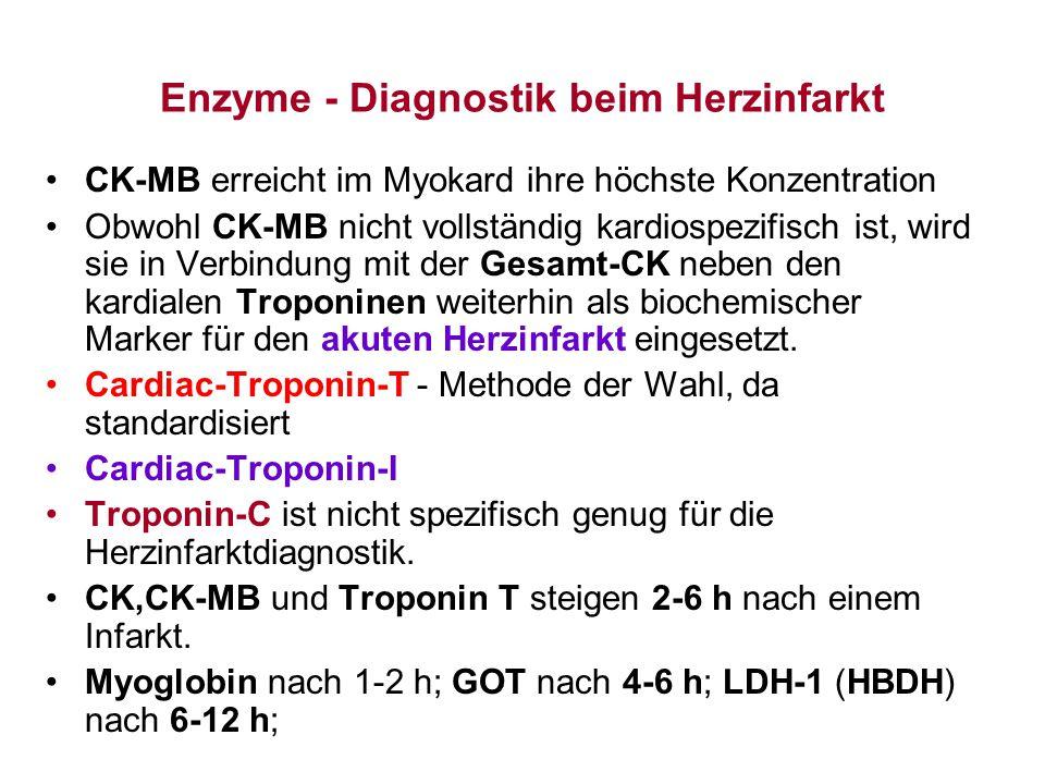 Enzyme - Diagnostik beim Herzinfarkt CK-MB erreicht im Myokard ihre höchste Konzentration Obwohl CK-MB nicht vollständig kardiospezifisch ist, wird si