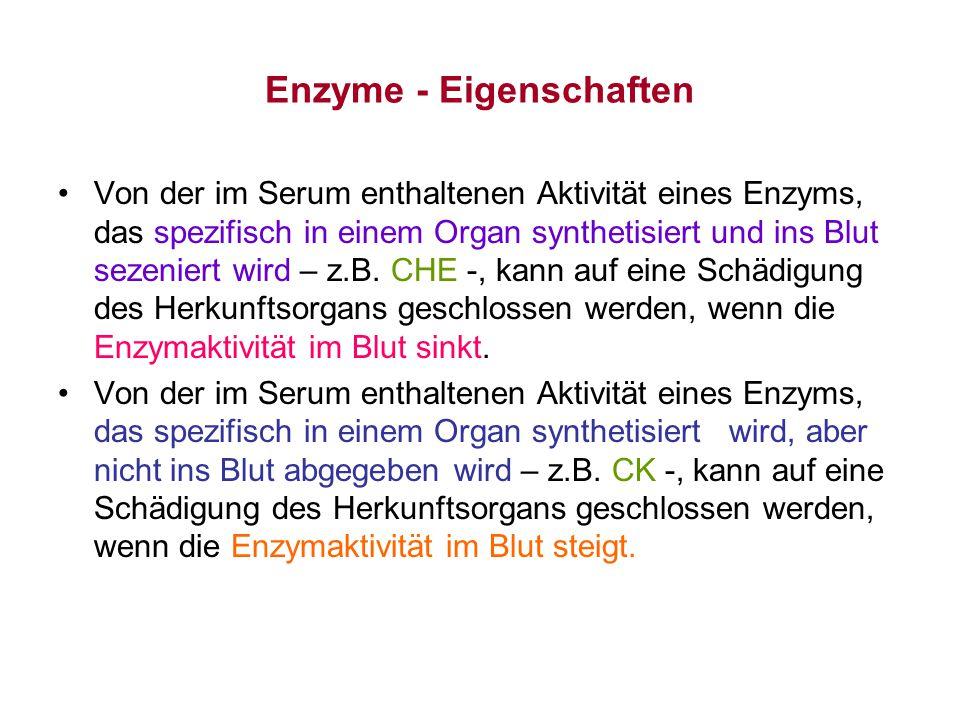 Enzyme - Eigenschaften Von der im Serum enthaltenen Aktivität eines Enzyms, das spezifisch in einem Organ synthetisiert und ins Blut sezeniert wird –