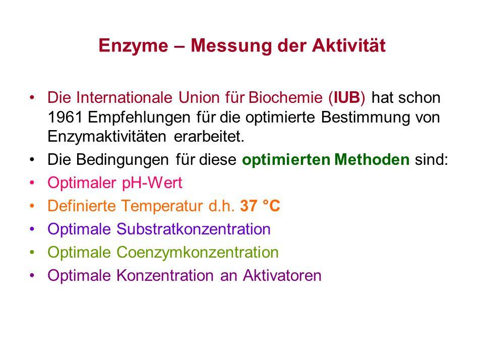 Enzyme – Messung der Aktivität Die Internationale Union für Biochemie (IUB) hat schon 1961 Empfehlungen für die optimierte Bestimmung von Enzymaktivit