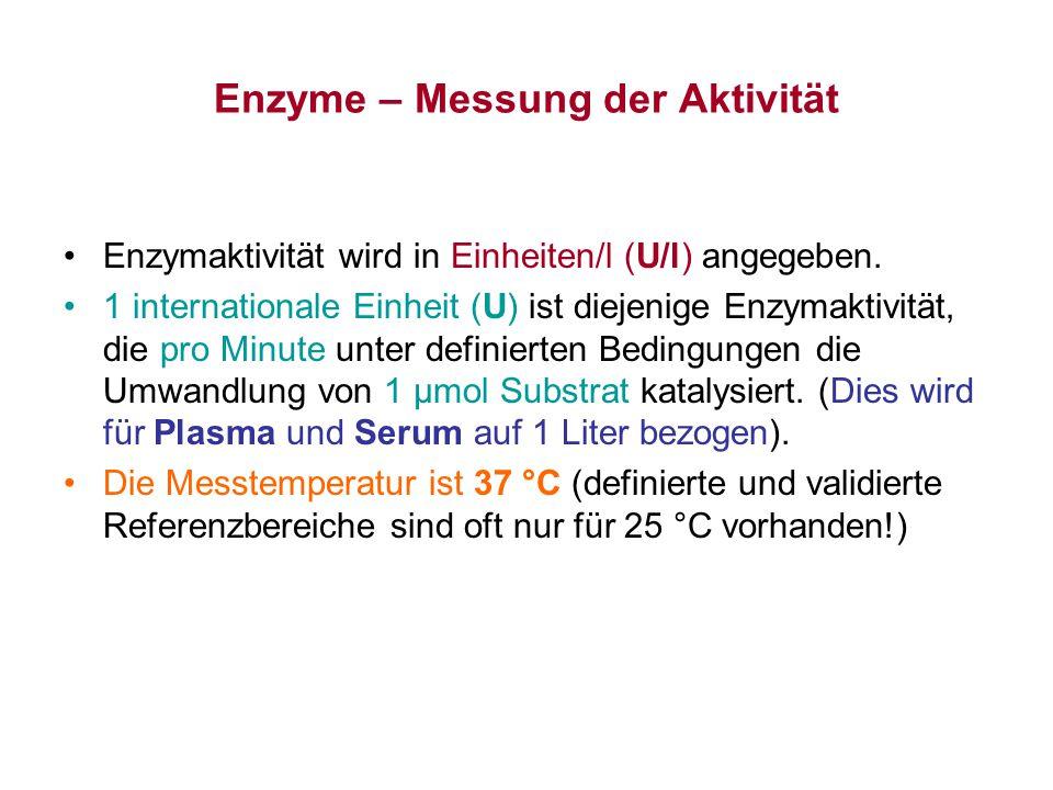 Enzyme – Messung der Aktivität Kinetisch-Optischer Test - IFCC Methode Die Bestimmung der LDH-Aktivität im Serum.