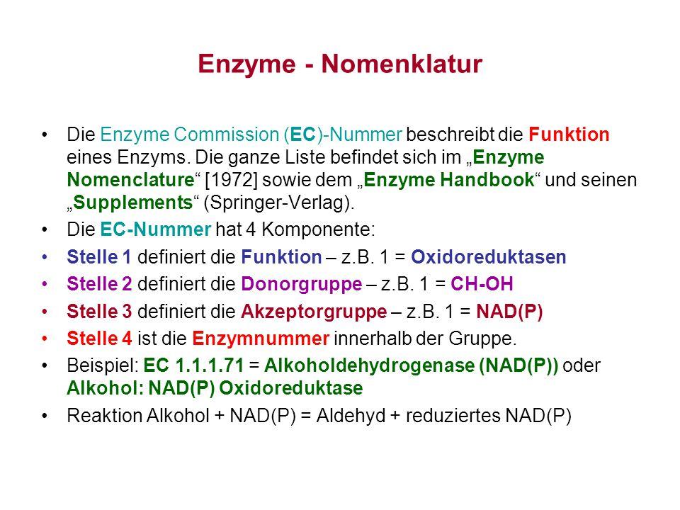 Enzyme - Nomenklatur Die Hauptgruppen von Enzymen sind: 1.x.x.x – Oxidoreduktasen (z.B.