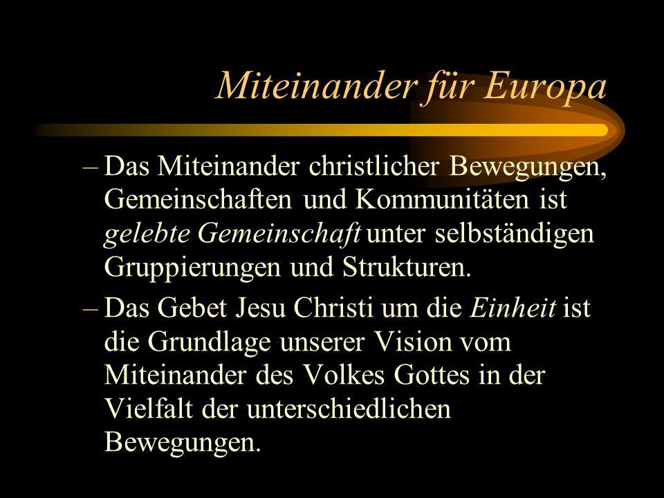 Miteinander für Europa –Das Miteinander christlicher Bewegungen, Gemeinschaften und Kommunitäten ist gelebte Gemeinschaft unter selbständigen Gruppier