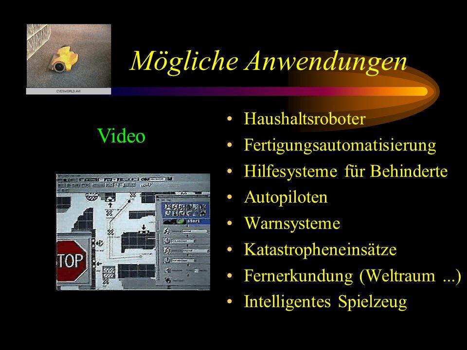 Mögliche Anwendungen Haushaltsroboter Fertigungsautomatisierung Hilfesysteme für Behinderte Autopiloten Warnsysteme Katastropheneinsätze Fernerkundung (Weltraum...) Intelligentes Spielzeug Video