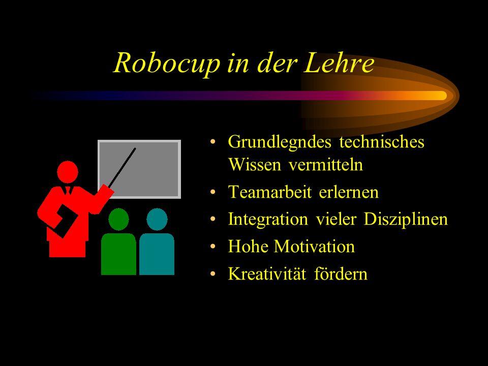 Robocup in der Lehre Grundlegndes technisches Wissen vermitteln Teamarbeit erlernen Integration vieler Disziplinen Hohe Motivation Kreativität fördern