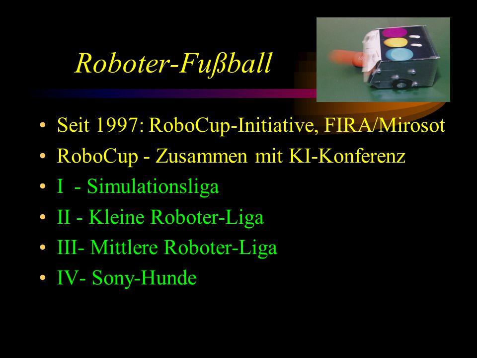 Roboter-Fußball Seit 1997: RoboCup-Initiative, FIRA/Mirosot RoboCup - Zusammen mit KI-Konferenz I - Simulationsliga II - Kleine Roboter-Liga III- Mittlere Roboter-Liga IV- Sony-Hunde