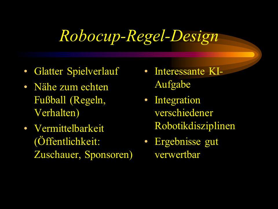 Robocup-Regel-Design Glatter Spielverlauf Nähe zum echten Fußball (Regeln, Verhalten) Vermittelbarkeit (Öffentlichkeit: Zuschauer, Sponsoren) Interessante KI- Aufgabe Integration verschiedener Robotikdisziplinen Ergebnisse gut verwertbar