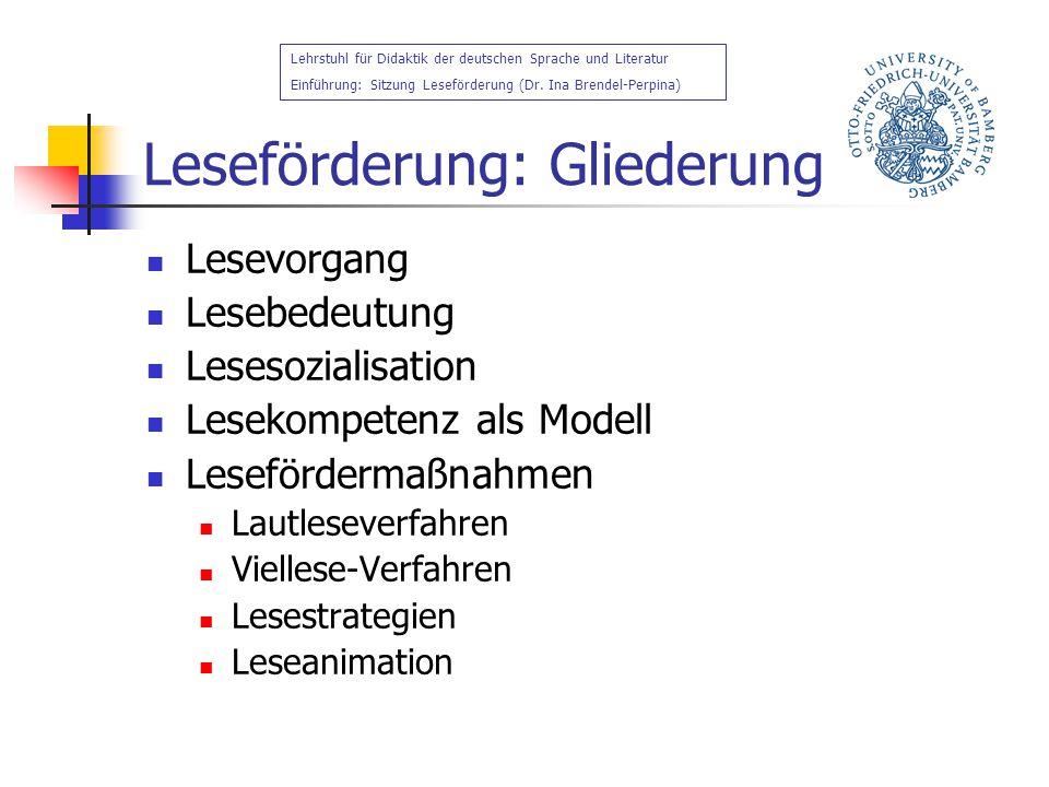 Leseförderung: Gliederung Lesevorgang Lesebedeutung Lesesozialisation Lesekompetenz als Modell Lesefördermaßnahmen Lautleseverfahren Viellese-Verfahre