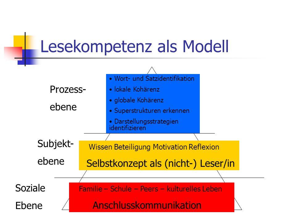 Lesekompetenz als Modell Prozess- ebene Subjekt- ebene Soziale Ebene Wort- und Satzidentifikation lokale Kohärenz globale Kohärenz Superstrukturen erk