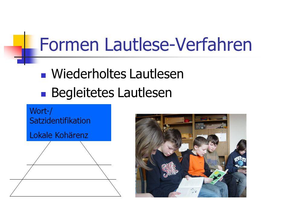 Formen Lautlese-Verfahren Wiederholtes Lautlesen Begleitetes Lautlesen Wort-/ Satzidentifikation Lokale Kohärenz