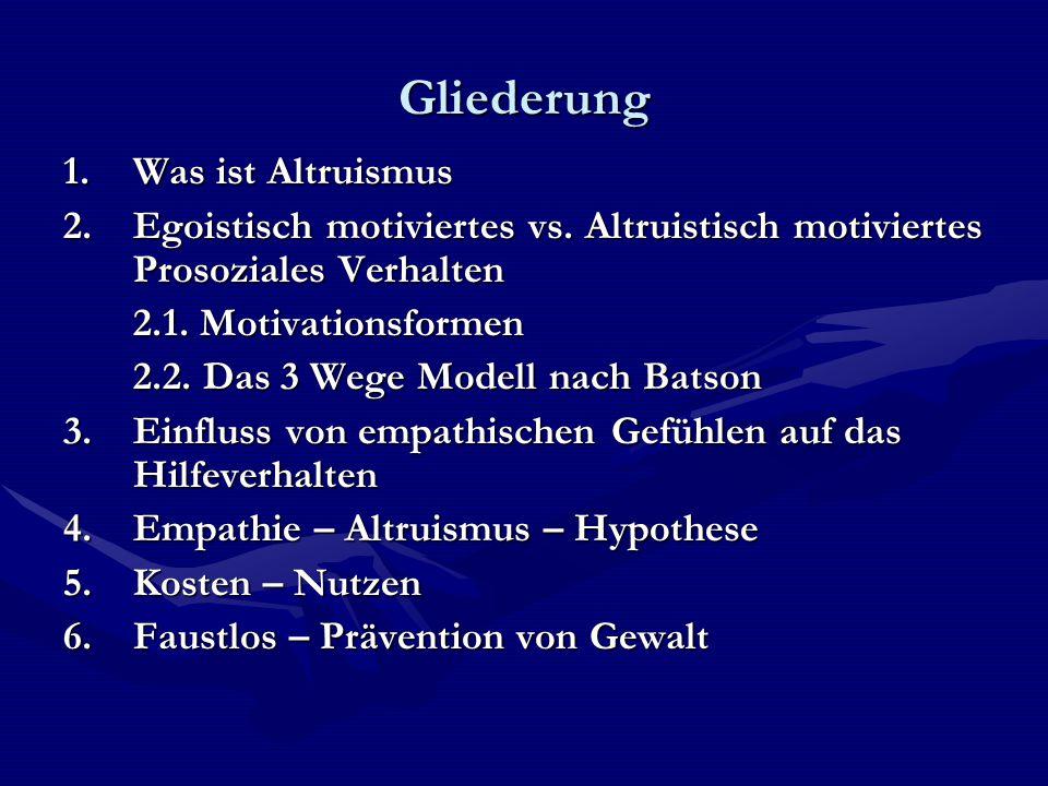 Altruismus Altruismus - willentliche Verfolgung der Interessen oder des Wohls anderer - selbstloses Handeln - Zurückstellung eigener Anliegen bis hin zur Selbstaufopferung - Gegenbegriff zu Egoismus - Uneigennützigkeit = Synonym für Altruismus - als Schöpfer des Begriffs Altruismus gilt Auguste Comte