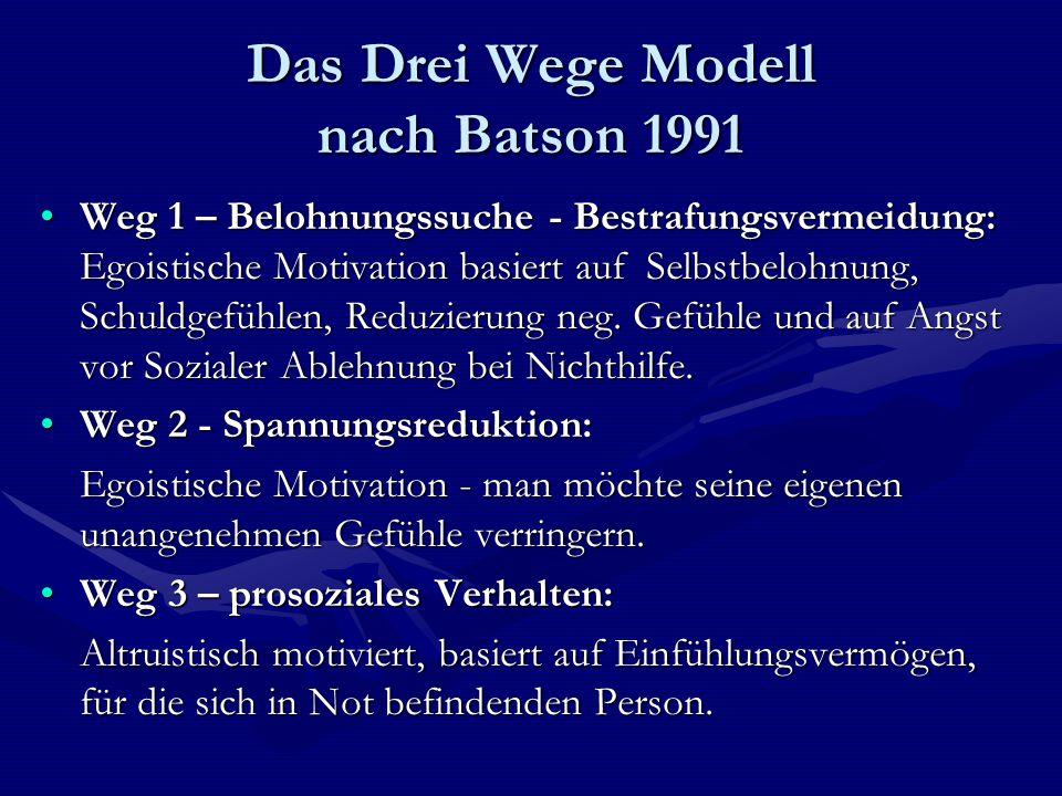Das Drei Wege Modell nach Batson 1991 Weg 1 – Belohnungssuche - Bestrafungsvermeidung: Egoistische Motivation basiert auf Selbstbelohnung, Schuldgefüh