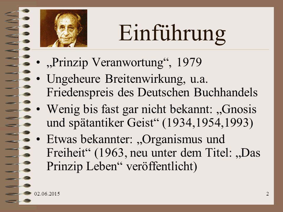 """02.06.20153 Hauptthemen Exemplarische Lebensgeschichte eines deutschen Juden Marburg, Jerusalem, New York: """"Heideggers Children Die Verfinsterung der Welt: Spätantike Gnosis & 20."""