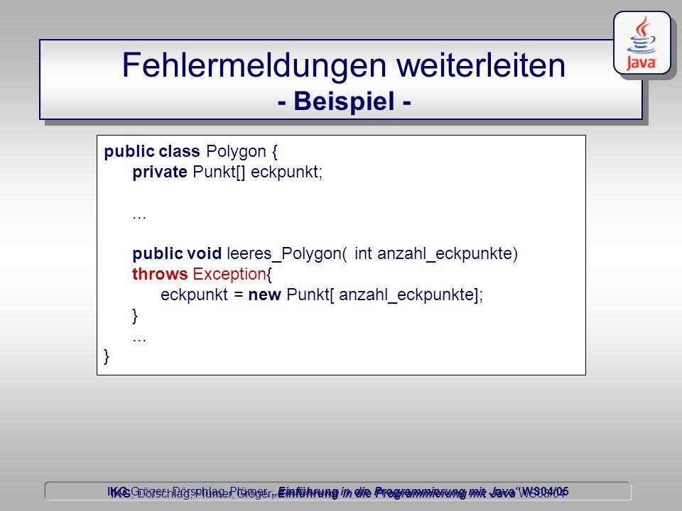 """IKG Gröger, Dörschlag, Plümer, """"Einführung in die Programmierung mit Java WS04/05 Dörschlag IKG; Dörschlag, Plümer, Gröger; Einführung in die Programmierung mit Java WS03/04 Fehlermeldungen weiterleiten - Beispiel - public class Polygon { private Punkt[] eckpunkt;..."""