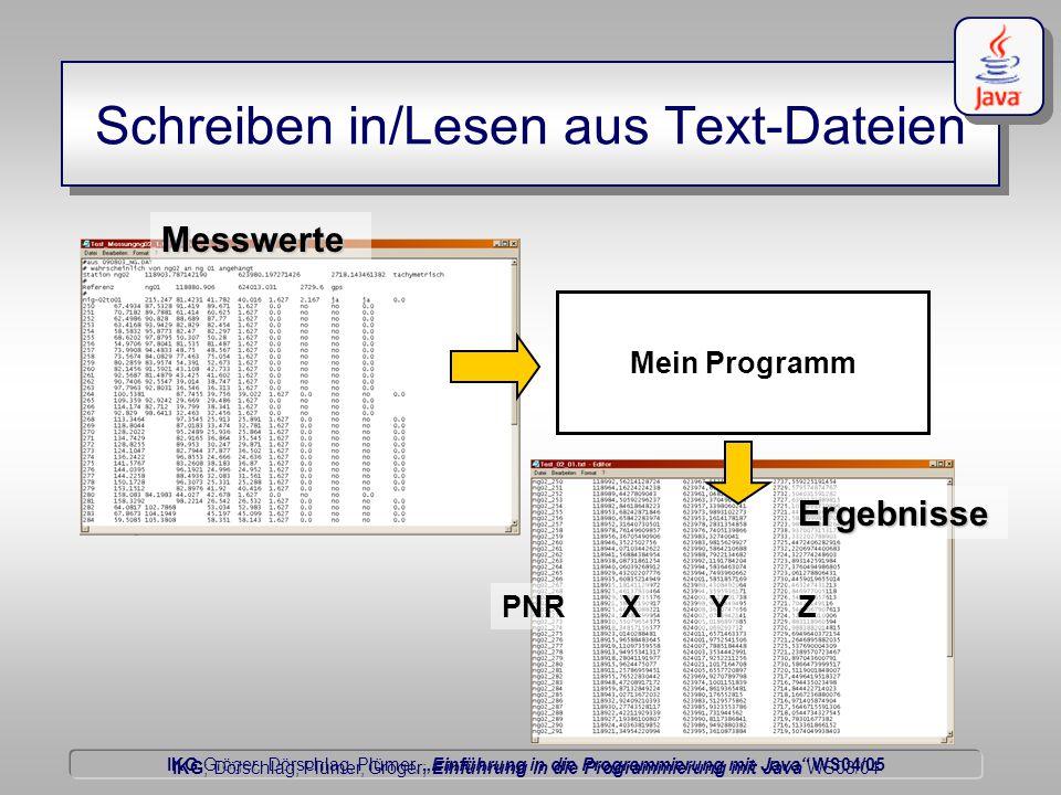 """IKG Gröger, Dörschlag, Plümer, """"Einführung in die Programmierung mit Java WS04/05 Dörschlag IKG; Dörschlag, Plümer, Gröger; Einführung in die Programmierung mit Java WS03/04 Schreiben in/Lesen aus Text-Dateien Mein Programm Messwerte Ergebnisse PNRXYZ"""
