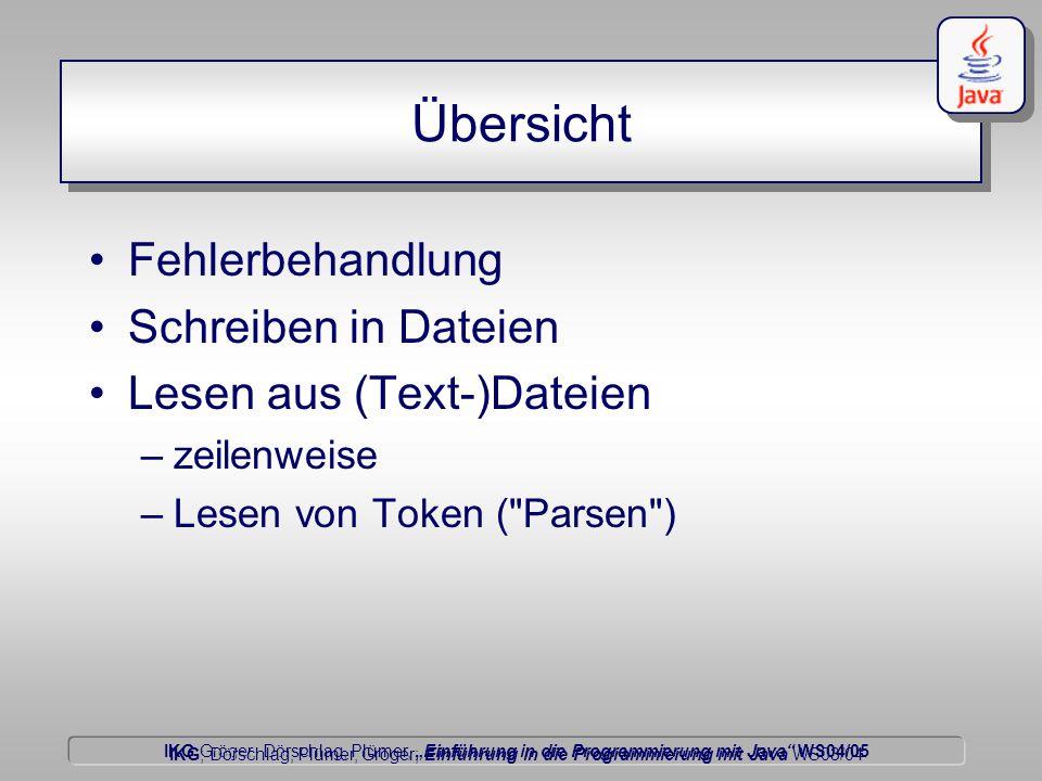 """IKG Gröger, Dörschlag, Plümer, """"Einführung in die Programmierung mit Java WS04/05 Dörschlag IKG; Dörschlag, Plümer, Gröger; Einführung in die Programmierung mit Java WS03/04 Übersicht Fehlerbehandlung Schreiben in Dateien Lesen aus (Text-)Dateien –zeilenweise –Lesen von Token ( Parsen )"""