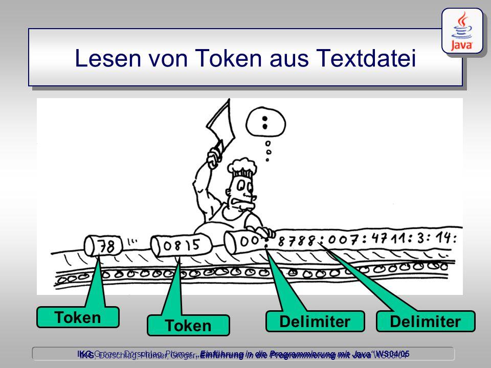 """IKG Gröger, Dörschlag, Plümer, """"Einführung in die Programmierung mit Java WS04/05 Dörschlag IKG; Dörschlag, Plümer, Gröger; Einführung in die Programmierung mit Java WS03/04 Lesen von Token aus Textdatei Token Delimiter Token Delimiter"""