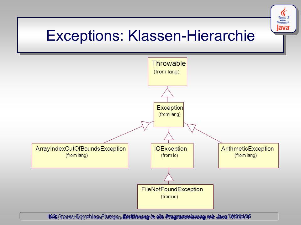 """IKG Gröger, Dörschlag, Plümer, """"Einführung in die Programmierung mit Java WS04/05 Dörschlag IKG; Dörschlag, Plümer, Gröger; Einführung in die Programmierung mit Java WS03/04 Exceptions: Klassen-Hierarchie Throwable (from lang) Exception (from lang) ArrayIndexOutOfBoundsException (from lang) ArithmeticException (from lang) IOException (from io) FileNotFoundException (from io)"""