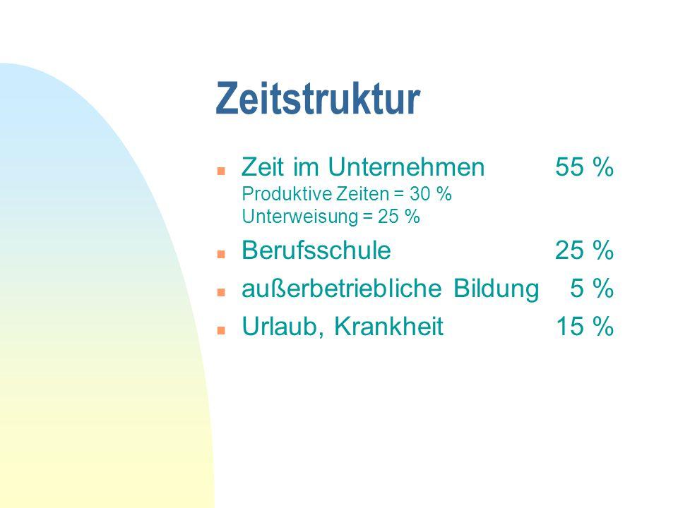 Zeitstruktur n Zeit im Unternehmen55 % Produktive Zeiten = 30 % Unterweisung = 25 % n Berufsschule25 % n außerbetriebliche Bildung 5 % n Urlaub, Krank