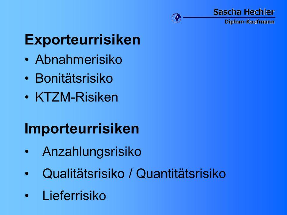 Exporteurrisiken Abnahmerisiko Bonitätsrisiko KTZM-Risiken Importeurrisiken Anzahlungsrisiko Qualitätsrisiko / Quantitätsrisiko Lieferrisiko