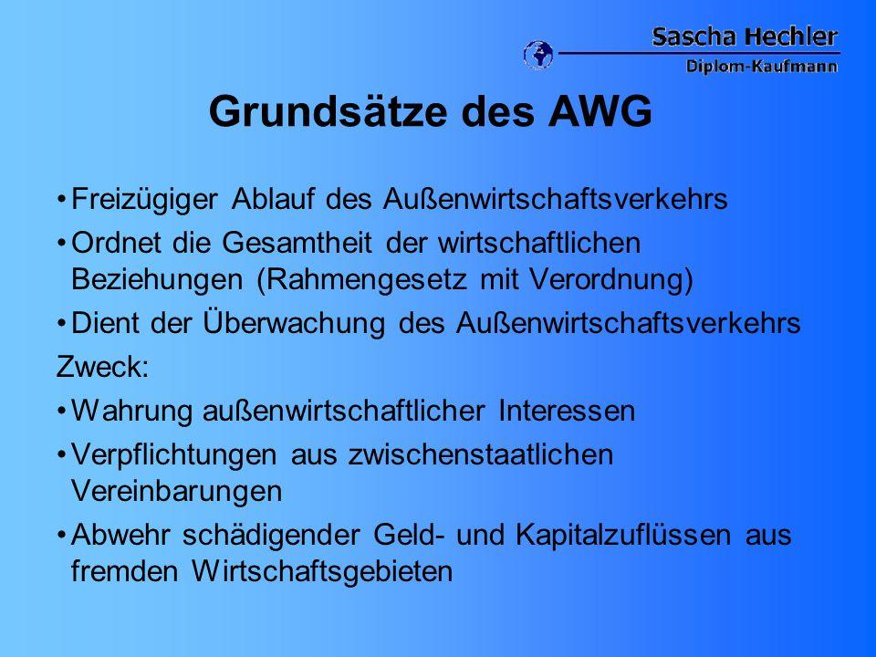 Grundsätze des AWG Freizügiger Ablauf des Außenwirtschaftsverkehrs Ordnet die Gesamtheit der wirtschaftlichen Beziehungen (Rahmengesetz mit Verordnung