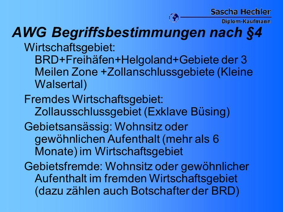 AWG Begriffsbestimmungen nach §4 Wirtschaftsgebiet: BRD+Freihäfen+Helgoland+Gebiete der 3 Meilen Zone +Zollanschlussgebiete (Kleine Walsertal) Fremdes