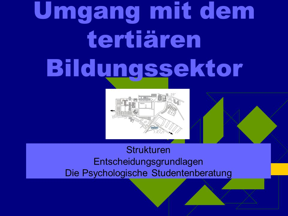 Umgang mit dem tertiären Bildungssektor Strukturen Entscheidungsgrundlagen Die Psychologische Studentenberatung