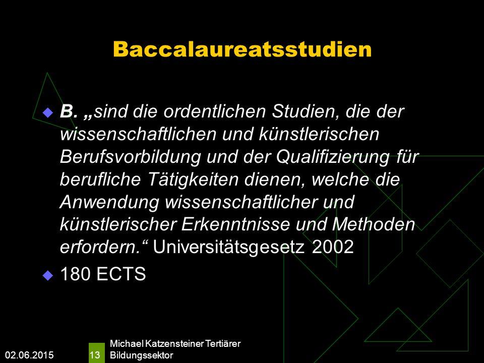 02.06.2015 Michael Katzensteiner Tertiärer Bildungssektor 13 Baccalaureatsstudien  B.