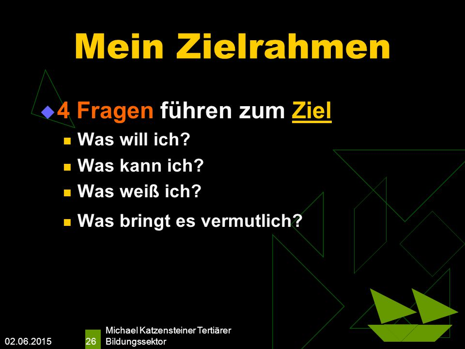02.06.2015 Michael Katzensteiner Tertiärer Bildungssektor 26 Mein Zielrahmen  4 Fragen führen zum Ziel Was will ich.