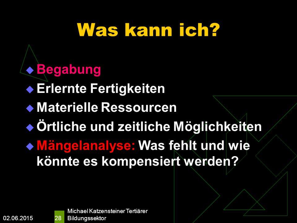 02.06.2015 Michael Katzensteiner Tertiärer Bildungssektor 28 Was kann ich.