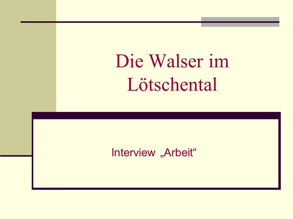 """Die Walser im Lötschental Interview """"Arbeit"""""""