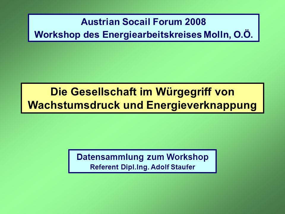 Die Gesellschaft im Würgegriff von Wachstumsdruck und Energieverknappung Datensammlung zum Workshop Referent Dipl.Ing. Adolf Staufer Austrian Socail F