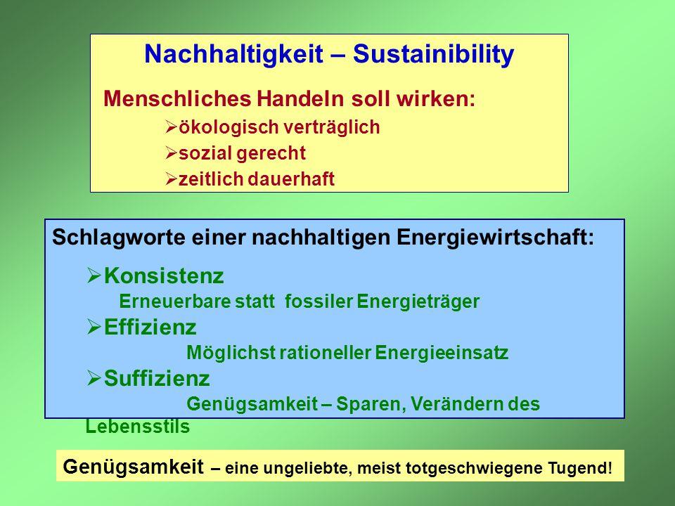Schlagworte einer nachhaltigen Energiewirtschaft:  Konsistenz Erneuerbare statt fossiler Energieträger  Effizienz Möglichst rationeller Energieeinsa