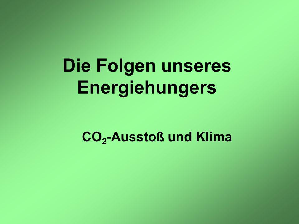 Die Folgen unseres Energiehungers CO 2 -Ausstoß und Klima