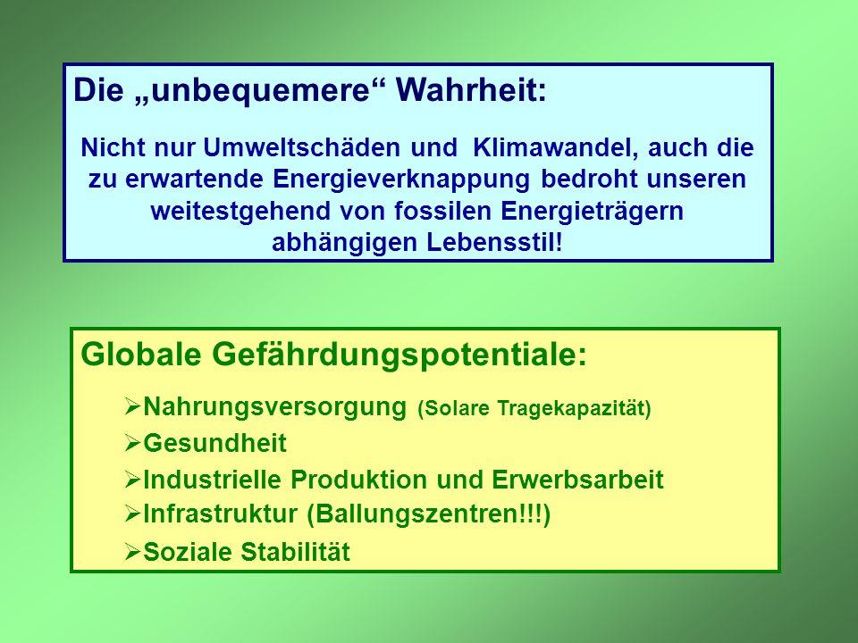 """Die """"unbequemere"""" Wahrheit: Nicht nur Umweltschäden und Klimawandel, auch die zu erwartende Energieverknappung bedroht unseren weitestgehend von fossi"""