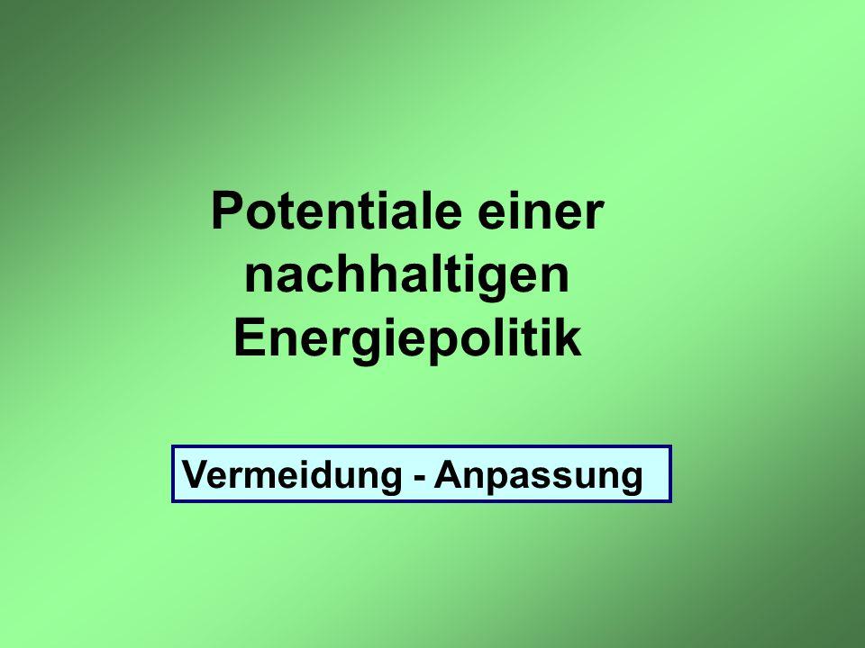 Potentiale einer nachhaltigen Energiepolitik Vermeidung - Anpassung