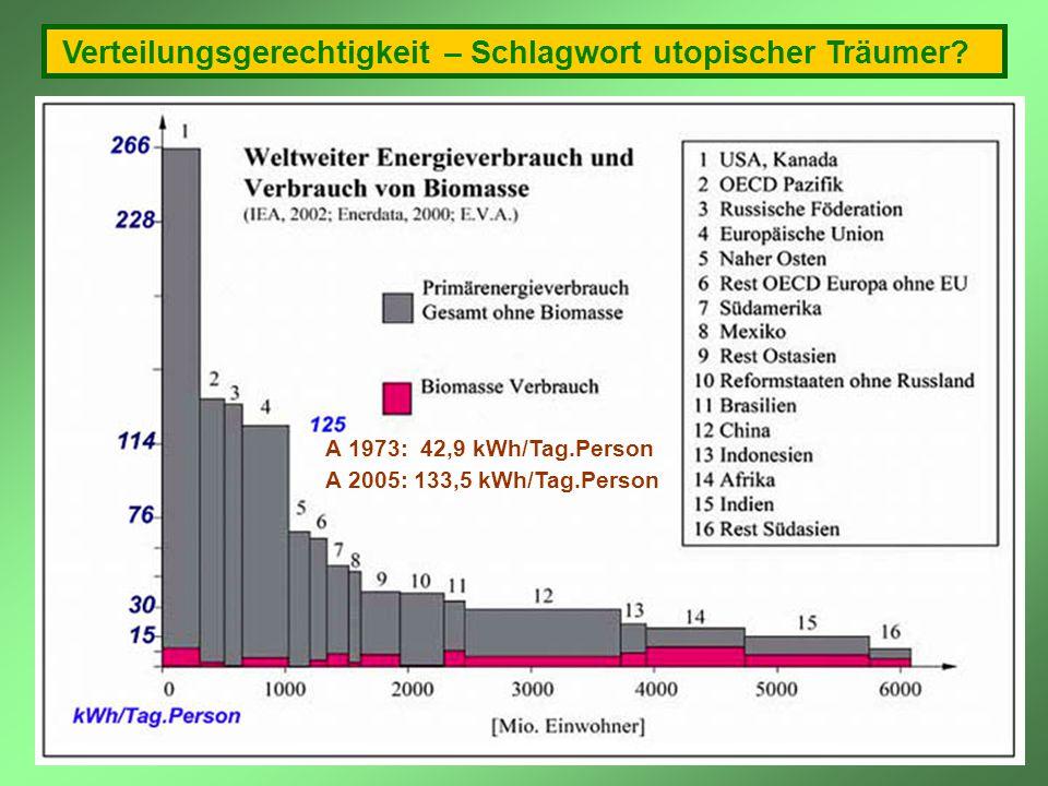 Verteilungsgerechtigkeit – Schlagwort utopischer Träumer? A 1973: 42,9 kWh/Tag.Person A 2005: 133,5 kWh/Tag.Person