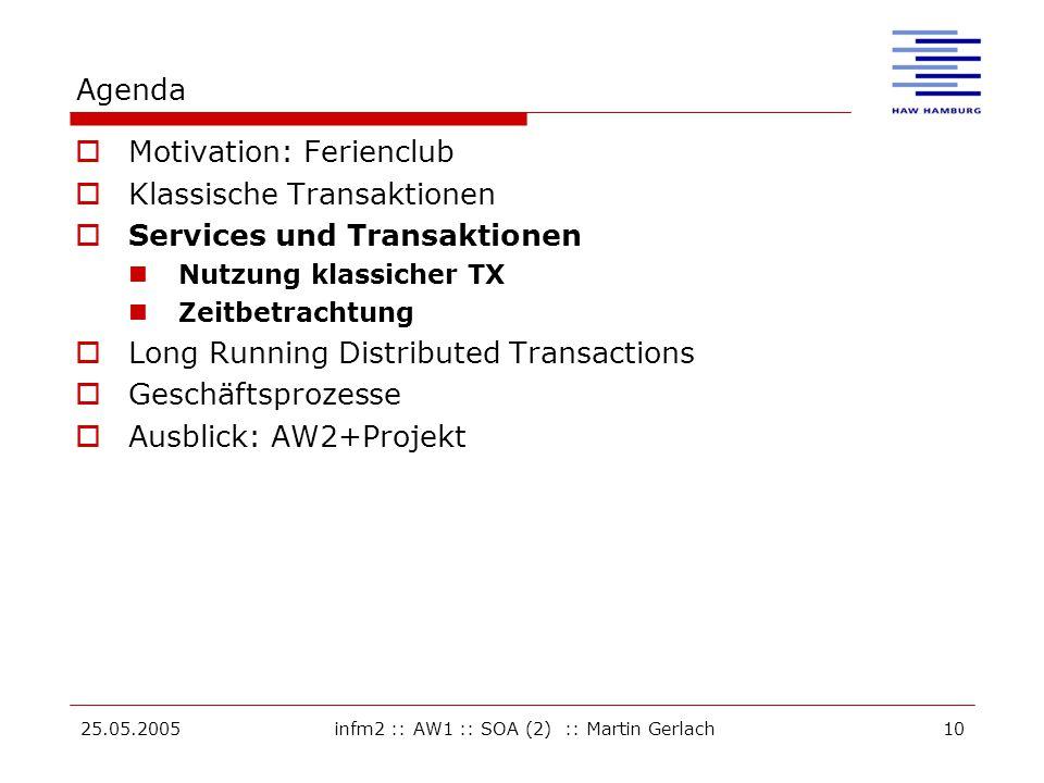 25.05.2005infm2 :: AW1 :: SOA (2) :: Martin Gerlach10 Agenda  Motivation: Ferienclub  Klassische Transaktionen  Services und Transaktionen Nutzung klassicher TX Zeitbetrachtung  Long Running Distributed Transactions  Geschäftsprozesse  Ausblick: AW2+Projekt